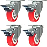 Online Best Service 4 Pack Caster Wheels Swivel Plate Stem Brake Casters On Red Polyurethane Wheels 880 Lbs (2 inch with brake)
