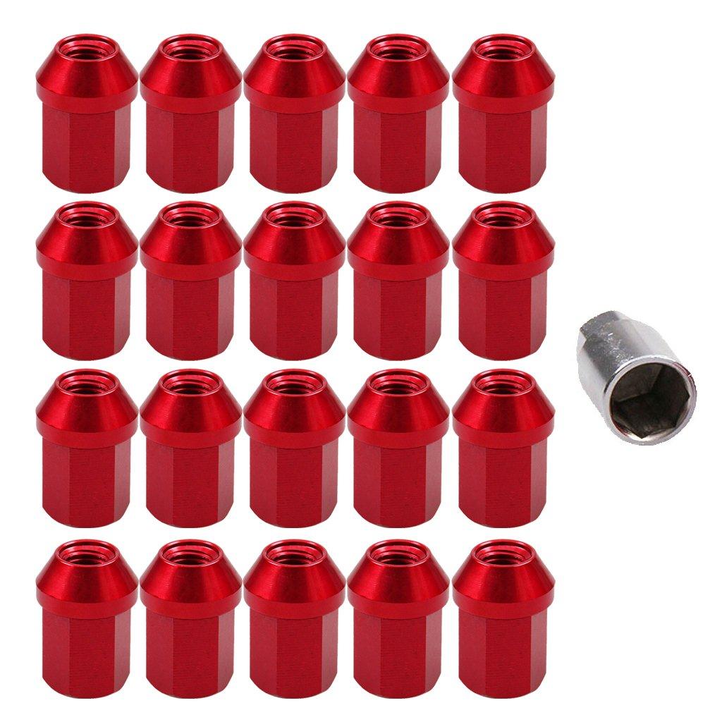 Homyl 20 Pieces M12 1.25 Wheel Lug Nut Lock Kit Wheel Lock Bolts - Black, 35x25mm