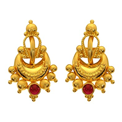 9afa82e42 Buy Joyalukkas 22KT (916) Yellow Gold Stud Earrings for Women (BN11200775)  Online at Low Prices in India | Amazon Jewellery Store - Amazon.in