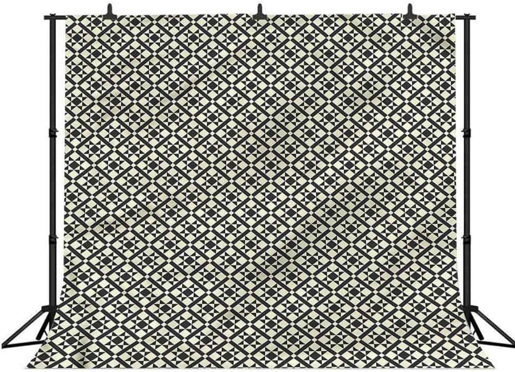 8x8FT Vinyl Backdrop Photographer,Arabic,Geometrical Flower Motifs Background for Party Home Decor Outdoorsy Theme Shoot Props