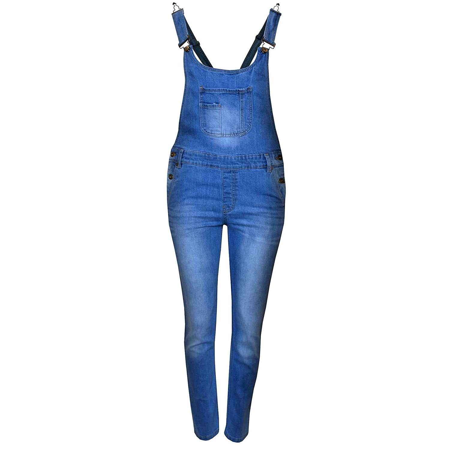 NEW KIDS GIRLS DENIM STRETCH STONE WASH DARK WASH PLAYSUIT JUMPSUIT DUNGAREE JEANS