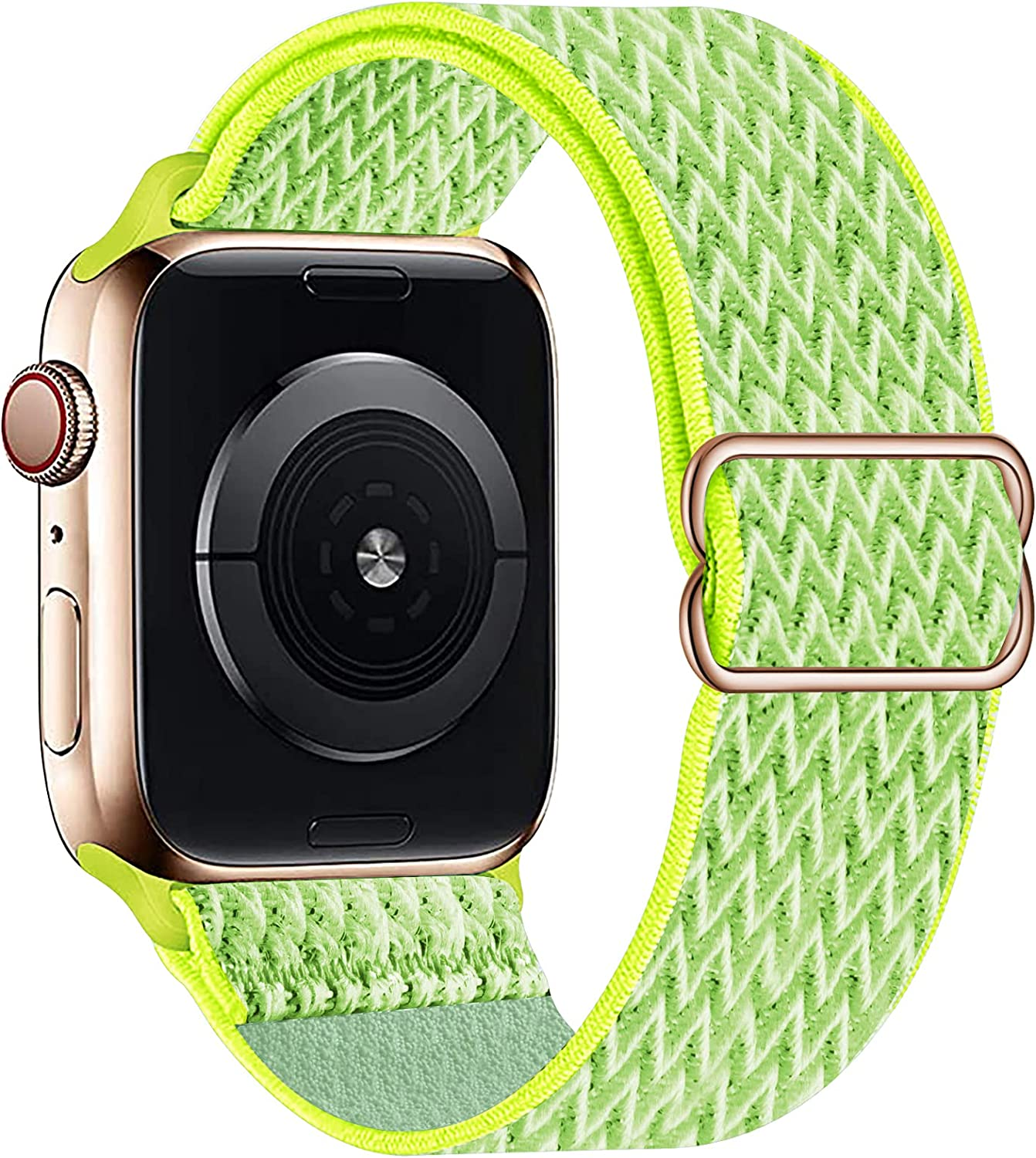 OHCBOOGIE Stretchy Solo Loop Strap Compatible with Apple Watch Bands 38mm 40mm 42mm 44mm ,Adjustable Stretch Braided Sport Elastics Weave Nylon Women Men Wristband Compatible with iWatch Series 6/5/4/3/2/1 SE,Flash Light,38/40mm