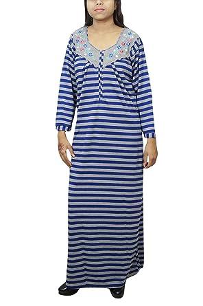 Indiatrendzs Women Long Nighty Woolen Printed Blue Grey Nightdress L  Amazon .in  Clothing   Accessories cd4c788c3