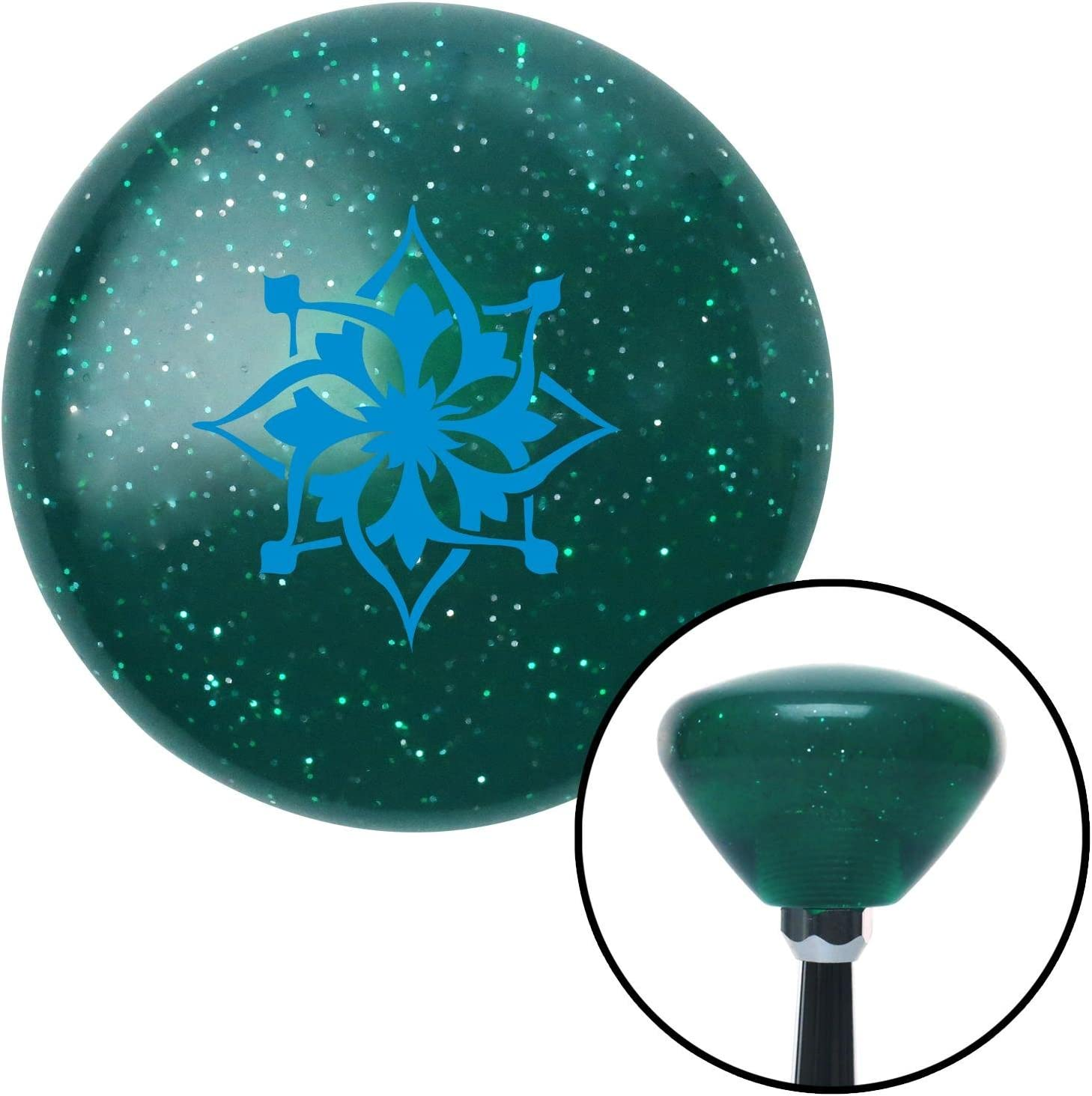 American Shifter 203851 Green Retro Metal Flake Shift Knob with M16 x 1.5 Insert Blue Abstract Flower