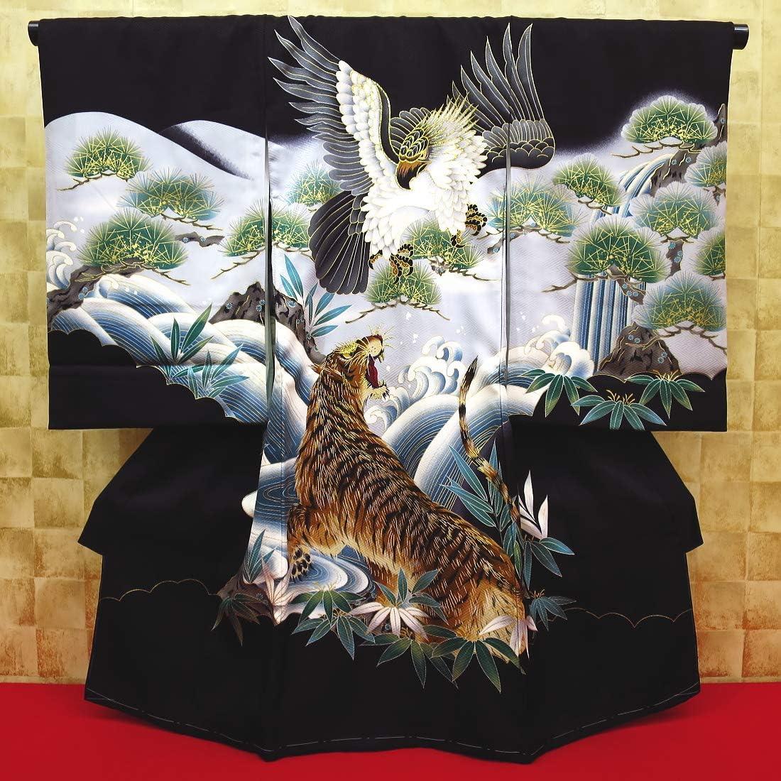 【鷹と虎・吉祥松・黒】男児 初着 祝着 のしめ 産着 男の子のお宮参り着物・高級フードセットプレゼント付
