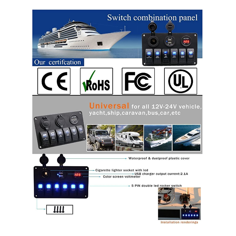 Reusious 4 Gang 6 8 Schaltung Led Auto Marine Pin Rocker Switch Wiring Diagram Wasserdicht 5 Boat Panel Mit Sicherung Dual Usb Slot Licht Steckdose