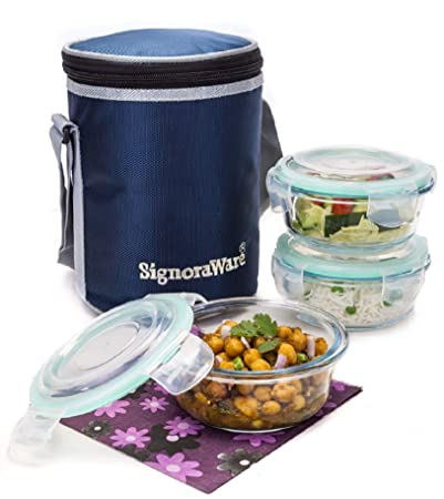 0fc92b0f3d9 Buy Signoraware Executive Glass Lunch Box Set with Bag