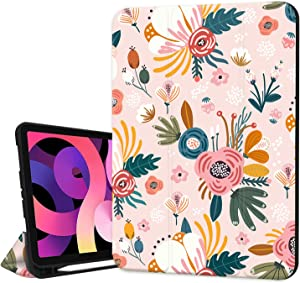 Hepix iPad Air 4th Generation Case Pink Flower Floral with Pencil Holder 2020 for Women Girl, Cute iPad Air 10.9 Case Flower Protective Shockproof Cover Auto Sleep Wake for A2072 A2316 A2324 A2325