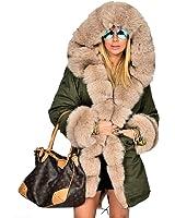 Roiii Women Winter Warm Thick Faux Fur Coat Outdoor Hood Parka Long Jacket Size 8-18 …