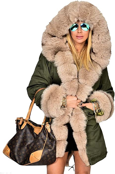 af67b7406a7 Womens Hooded Camouflage Warm Winter Coats Faux Fur Jacket Parka Overcoat
