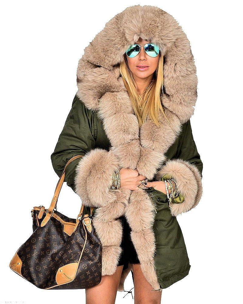 a00e2efd3 Roiii Women Winter Hoodies Overcoat Faux Fur Thicken Parka Casual ...