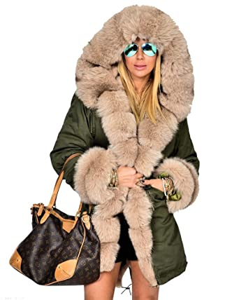 Roiii Women Winter Warm Thick Faux Fur Coat Outdoor Hood Parka ...
