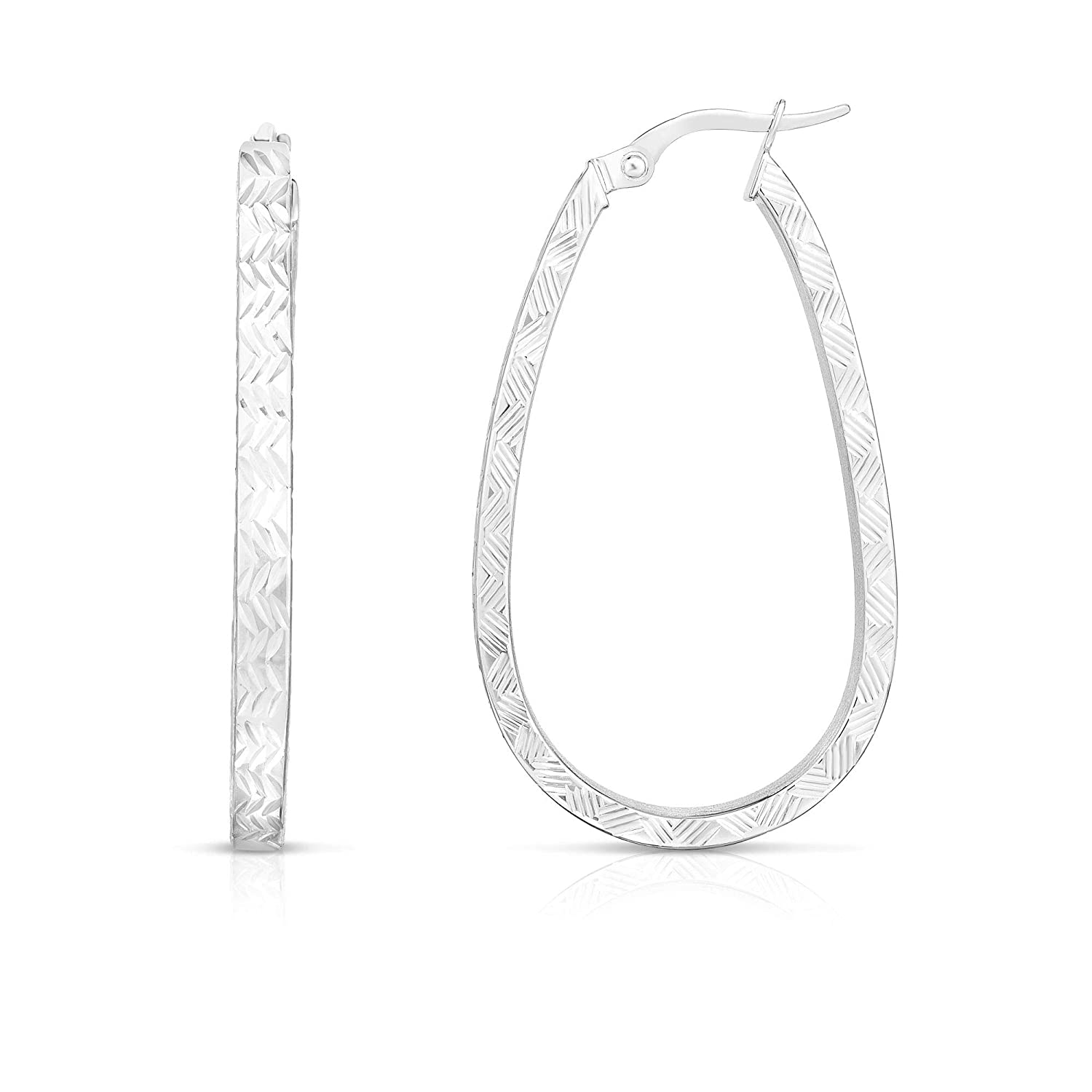 14K White Gold Finish 3x22x38mm Hoop Earrings with Hinged by IcedTime