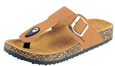 8b04bad10215 Anna Shoes Women s Thong Cork Sole Slide Sandal (6 B(M) US