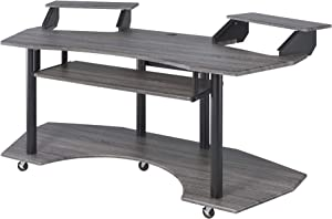 Acme Furniture Eleazar Music Recording Studio Desk, Black Oak