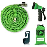 Expendable Garden Hose - 50 Ft Retractable, Lightweight & Flexible - 8 Pattern Function Gardening Spray Nozzle WateringIncluded - Enhanced Brass Fitting Connectors - Free Hanger & Storage Bag Holder