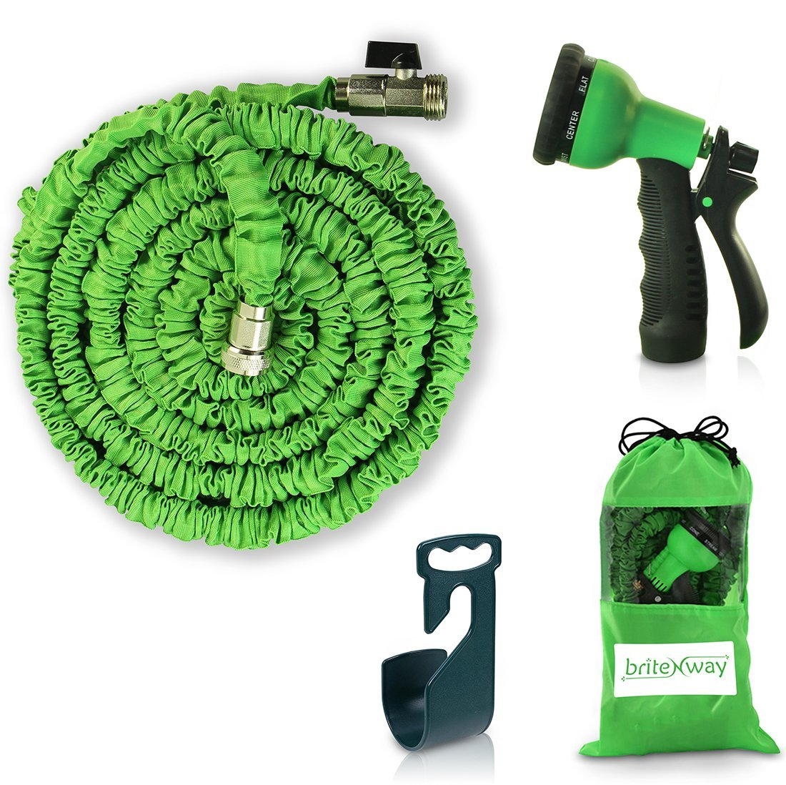 Expandable Garden Hose - 50 ft. Retractable, Lightweight & Flexible - 8 Pattern Function WateringNozzle Gardening Spray Included - Enhanced Brass Fitting Connectors - Free Hanger & Storage Holder