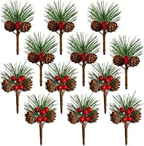 TOUTN 12 Pack Christmas Tree Decoration Pine Cone Red Berry Picks 3 Inch Stems Artificial Branches for Xmas Crafts Party Home Decor