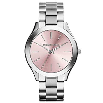 Michael Kors MK3380 Slim Runway Silive Tone Stainless Steel Light Pink Watch