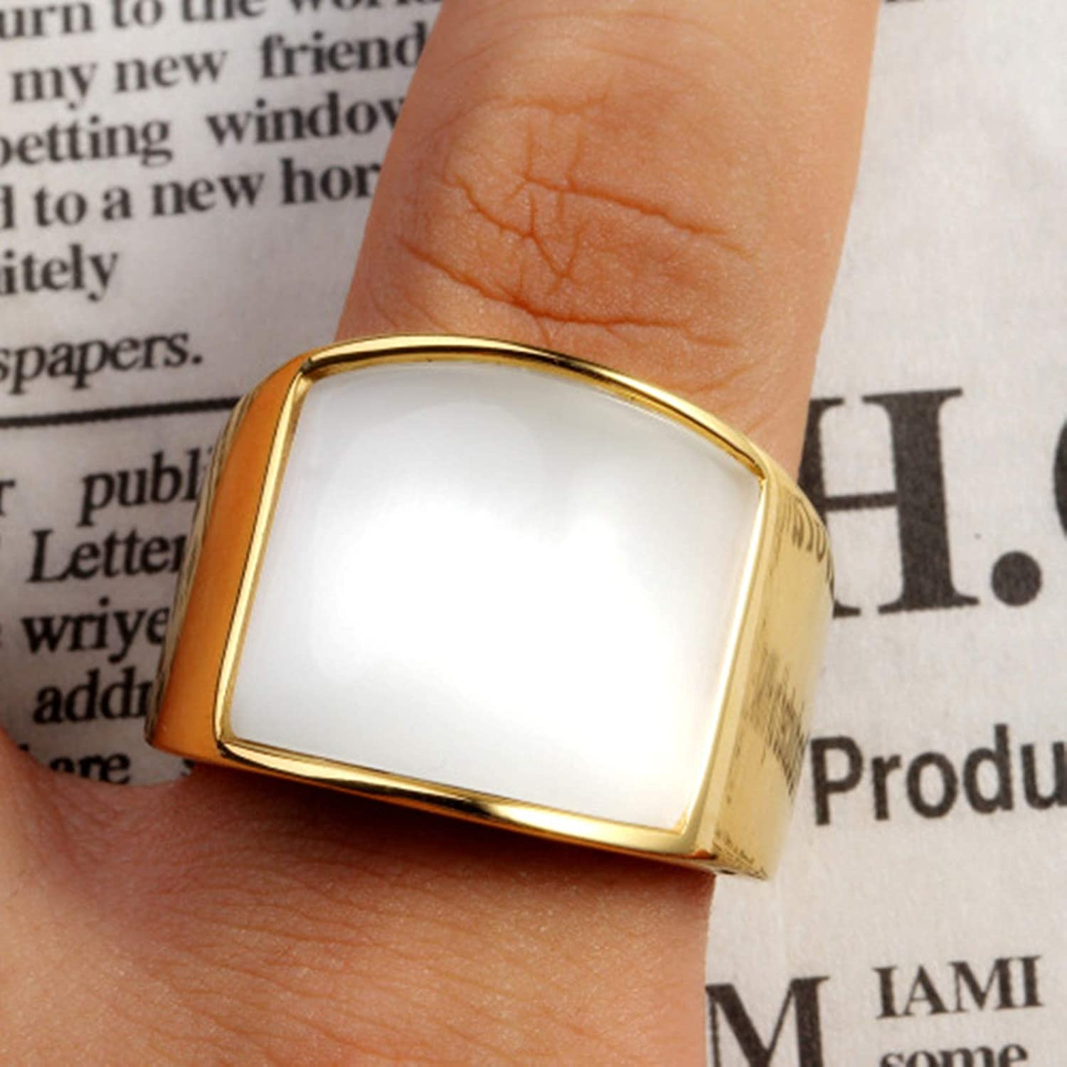MoAndy Stainless Steel Jewelry Stainless Steel Ring for She Wedding Ring Round Size 12