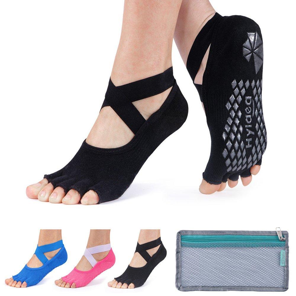 Hylaea Yoga Socks for Women Grip & Non Slip Toeless Sock for Ballet, Pilates, Combed Cotton, 3 Pairs, Black/Watermelon Red/blue