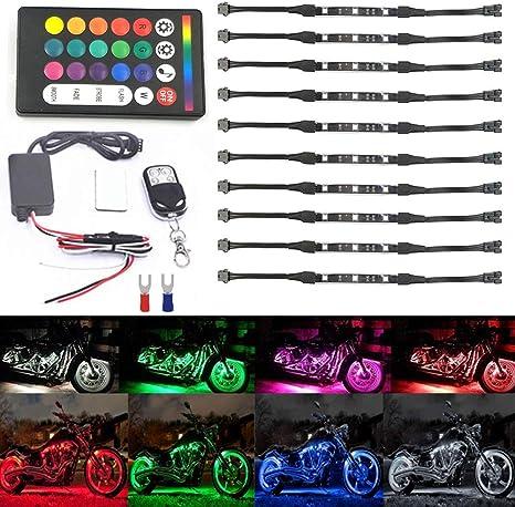Rokoo Kit de lumi/ère LED multi-couleurs de voiture de moto 8pcs Strips Glow Neon Lights Lampe flexible avec t/él/écommande