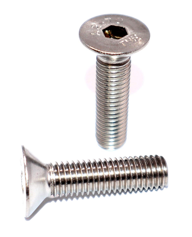Senkkopfschrauben mit Innensechskant und Vollgewinde M8x30 DIN 7991 ISO 10642 Edelstahl A2 St/ückzahl 10 Vollgewindeschrauben Senkschrauben