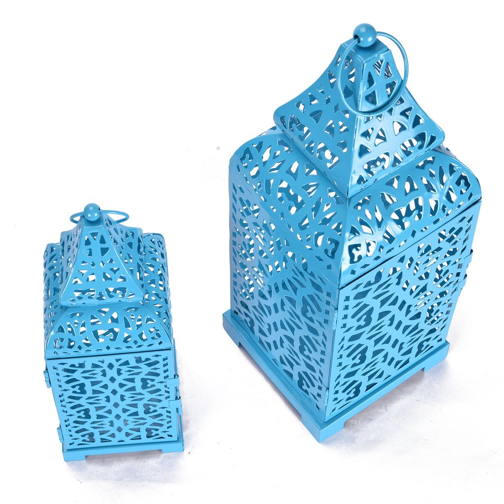 Christmas Metal Cage Set of 2 Blue Candle Stand Perfect for living Room Or Indoor Outdoor Decoration by Scrafts (Image #1)