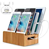 LENPOW Bamboo Charging Stations Dock Charger Stand Holder Phone Organizer for Multi Devices iPhone iPad Tablet, Office Cable Tools Desktop Storage Box, Strong Build of Eco Bamboo. Charger Not Included