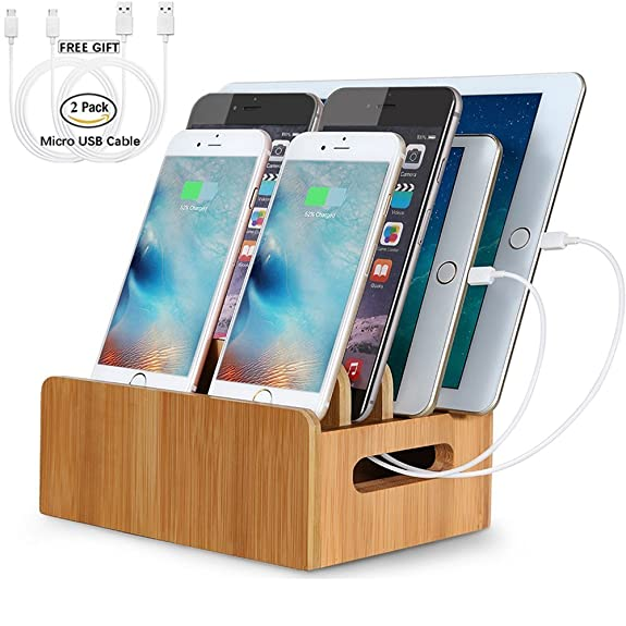 LENPOW Bamboo Charging Stations Dock Charger Stand Holder Phone Organizer  For Multi Devices IPhone IPad Tablet