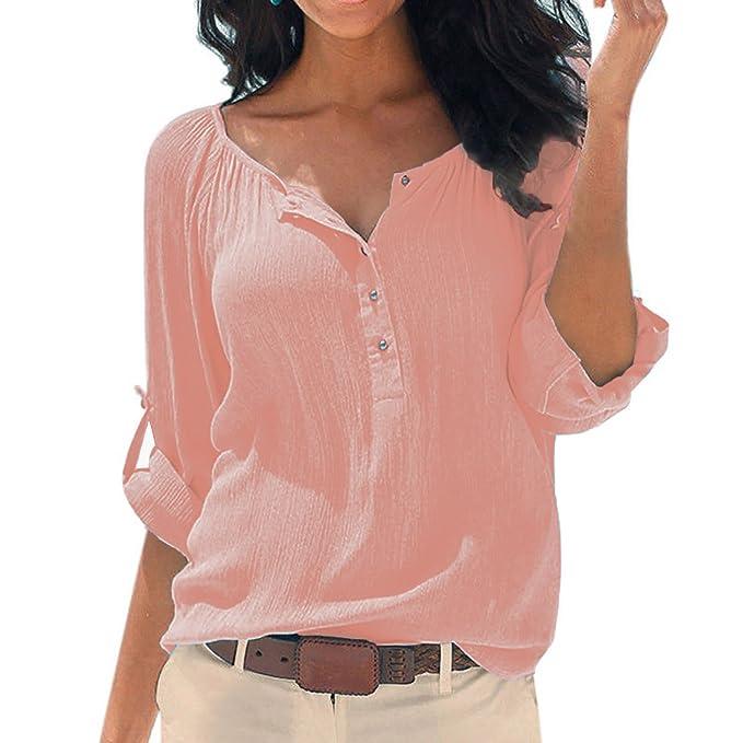 SUNNOW Top de la Blusa de la Camiseta de Algodón de Manga Larga de Algodón de Manga Larga Mujeres Atractivas