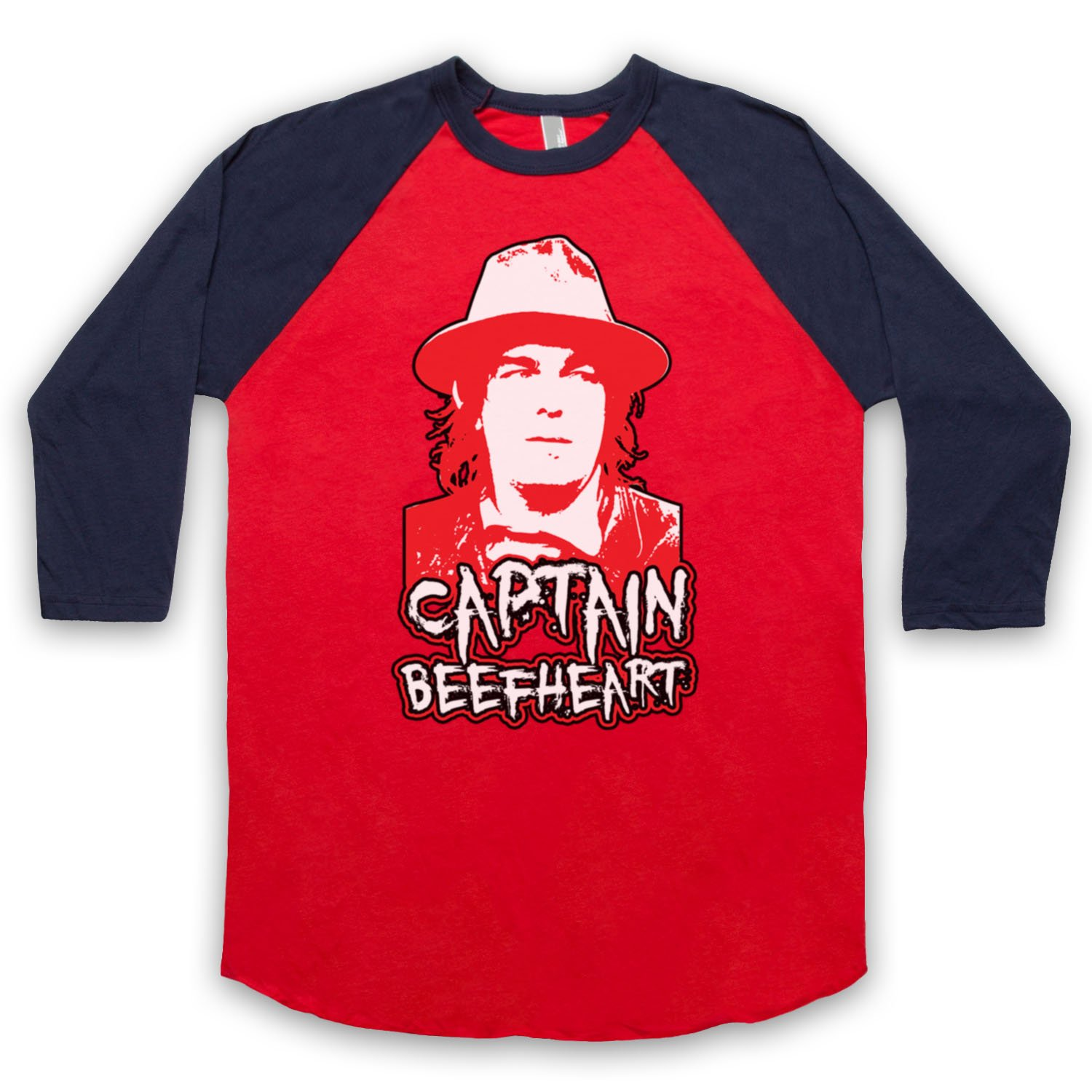 Inspired by Captain Beefheart Don Van Vliet Unofficial 3/4 Sleeve Retro Baseball Tee