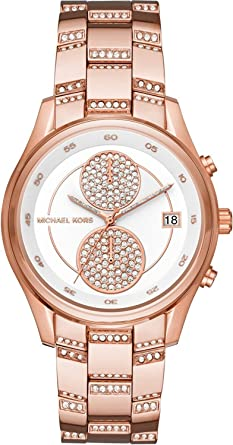 4af19a676eb4 Image Unavailable. Image not available for. Color  Michael Kors MK6479 Briar  Pavé Rose Gold-Tone Stainless Steel White Dial Women s Watch