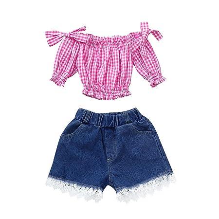 1a2ea7fc6e022d Vovotrade T-shirt a manica corta con scollo tondo manica lunga + Pantaloni  corti di pizzo in denim (24M, Rosa): Amazon.it: Giochi e giocattoli