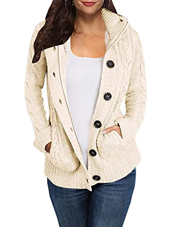 Makkrom Womens Hooded Knit Sweater Cardigan Cable Button Down Sweater Coat  Outwear 3eb4e5c82