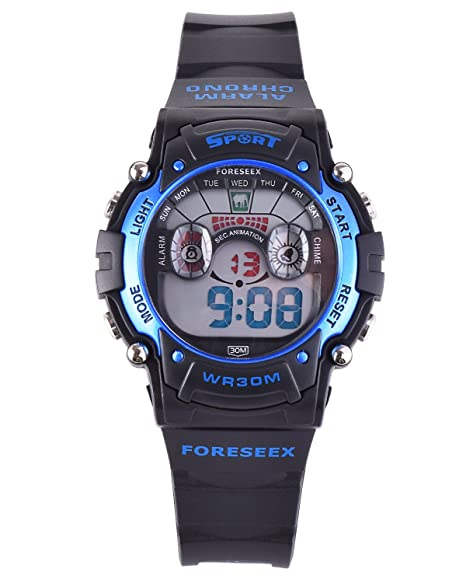 FSX-521B Reloj digital niños resistente al agua LED reloj de muñeca (azul)