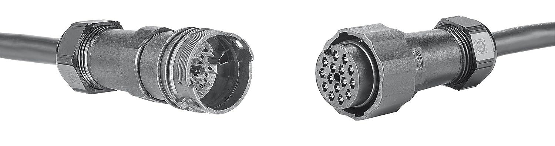 EasyConn Stecker 44 mm Durchmesser 15-polig HELLA 9XX 340 984-001 Steckgeh/äusesatz male//female
