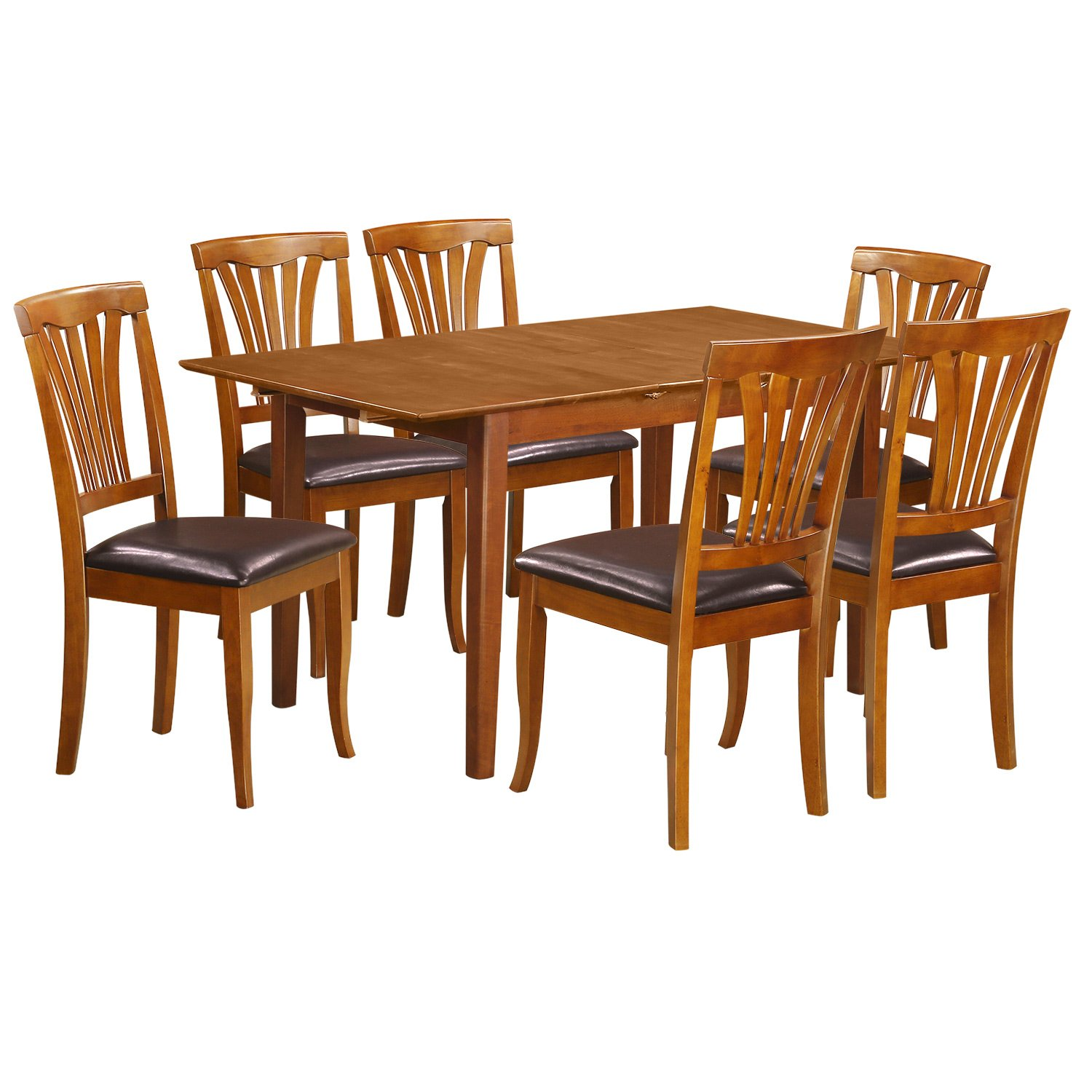 PSAV7-SBR-LC 7 PC Small dinette Table that has Leaf with 6 Dining Table Chairs