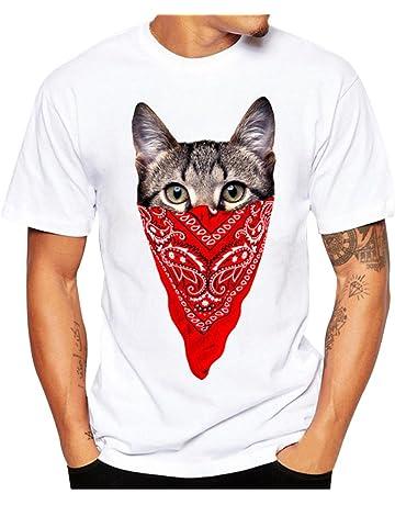 cd43b947d Camisetas Hombre LANSKIRT Camisas de Manga Corta con Estampado para Hombres  Blusas de Verano Transpirable y