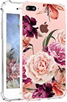 Hepix iPhone 8 Plus Floral Cases Girly iPhone 7 Plus Case Pretty Rose Flowers iPhone Case with Bumper Soft Flexible Air Cushion Shock Absorption Technology Anti-Scratch TPU Back Cover