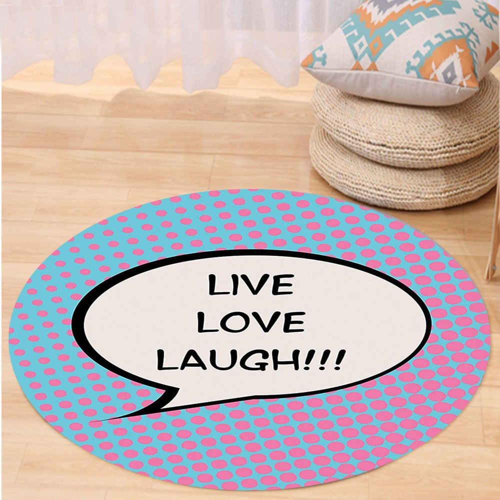 VROSELV Custom carpetLive Laugh Love Decor Pop Art Comic Book Style Halftone Dots Backdrop Speech Balloon Text for Bedroom Living Room Dorm Multicolor Round 72 inches