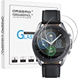(3 Pack) Orzero Tempered Glass Screen Protector Compatible for Samsung Galaxy Watch 3 (45mm), Garmin Approach S40, 2.5D Arc E