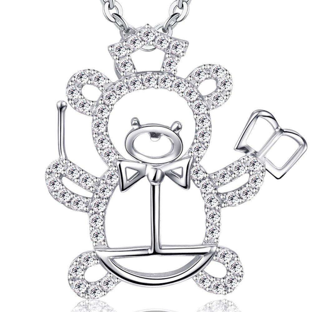 Ashley Jeweller Sterling Silver Teacher Bear Pendant Necklace for Girls Gift 18