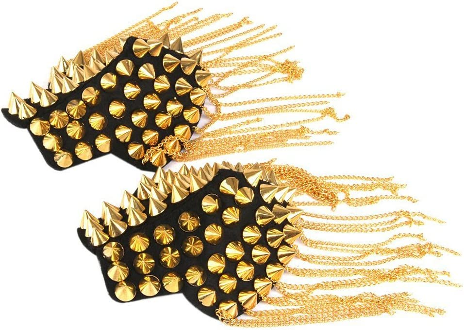 BESTOYARD Fringe Shoulder Pieces Rivet Tassel Chain Epaulet Shoulder Boards Badge Halloween Costume Uniform Accessories (Gold)