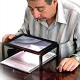 AUTOPKIO détaillée lecture mains libres Magnifier 3X pour les grands-parents avec LED batterie légère Mains rectangle alimenté Magnifier gratuit