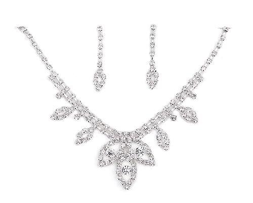 Impresionante conjunto de collar y pendientes de Cristal