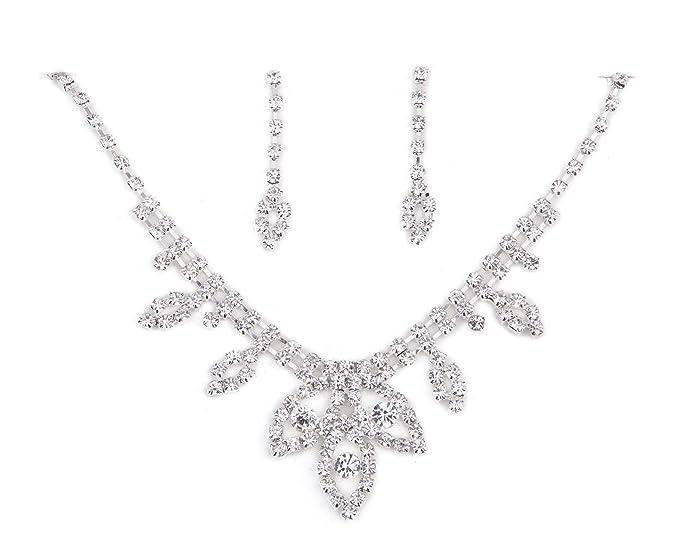 TreasureBay impresionante cristal claro diamante collar y pendientes de diseño exclusivo novia, bailes, fiestas, Everning fuera conjunto de joyas