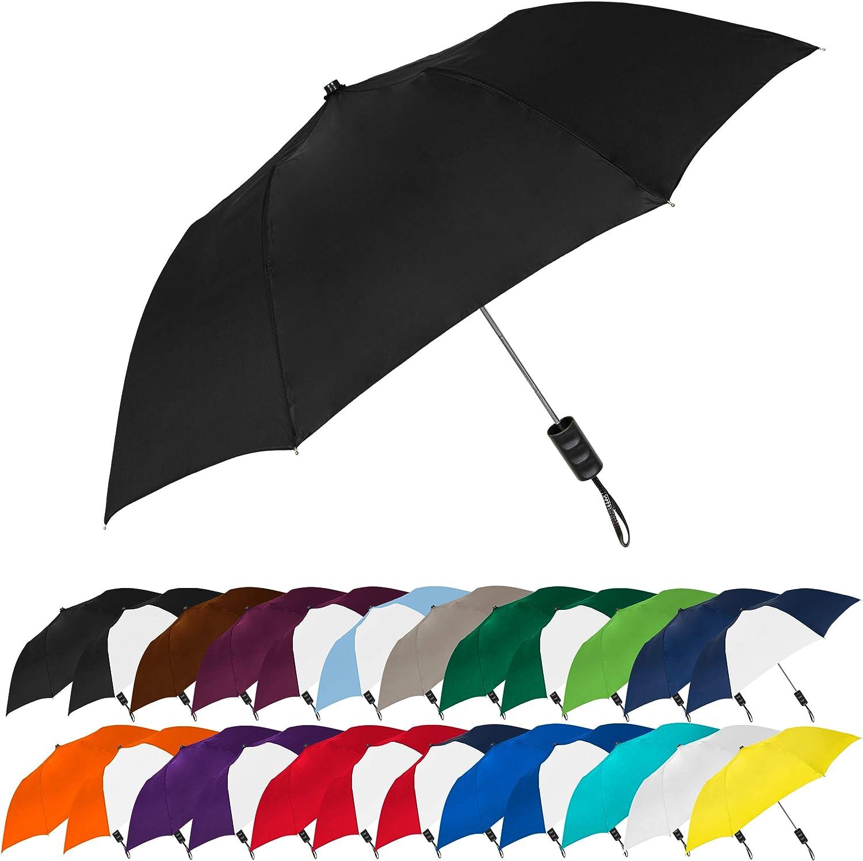 STROMBERGBRAND UMBRELLAS Spectrum Popular Style Automatic Open Close Small Light Weight Portable Compact Tiny Mini Travel Folding Umbrella for Men and Women, Black