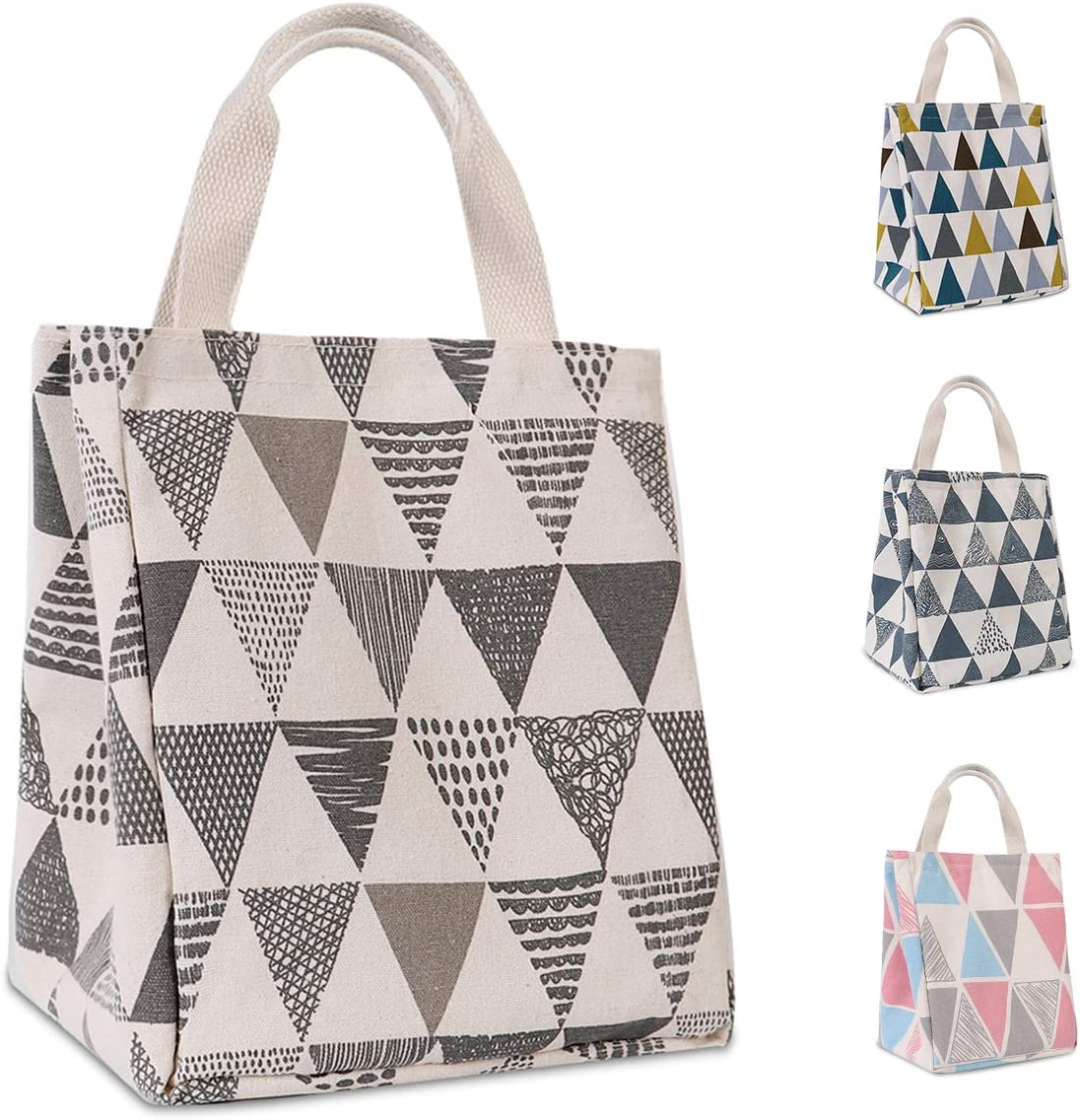 HOMESPON Reusable Lunch Bag Insulated Lunch Box Cute Canvas Fabric with Aluminum Foil, Printed Lunch Tote Handbag Fordable for Women,Men,School, Office (Triangle Pattern-Grey)