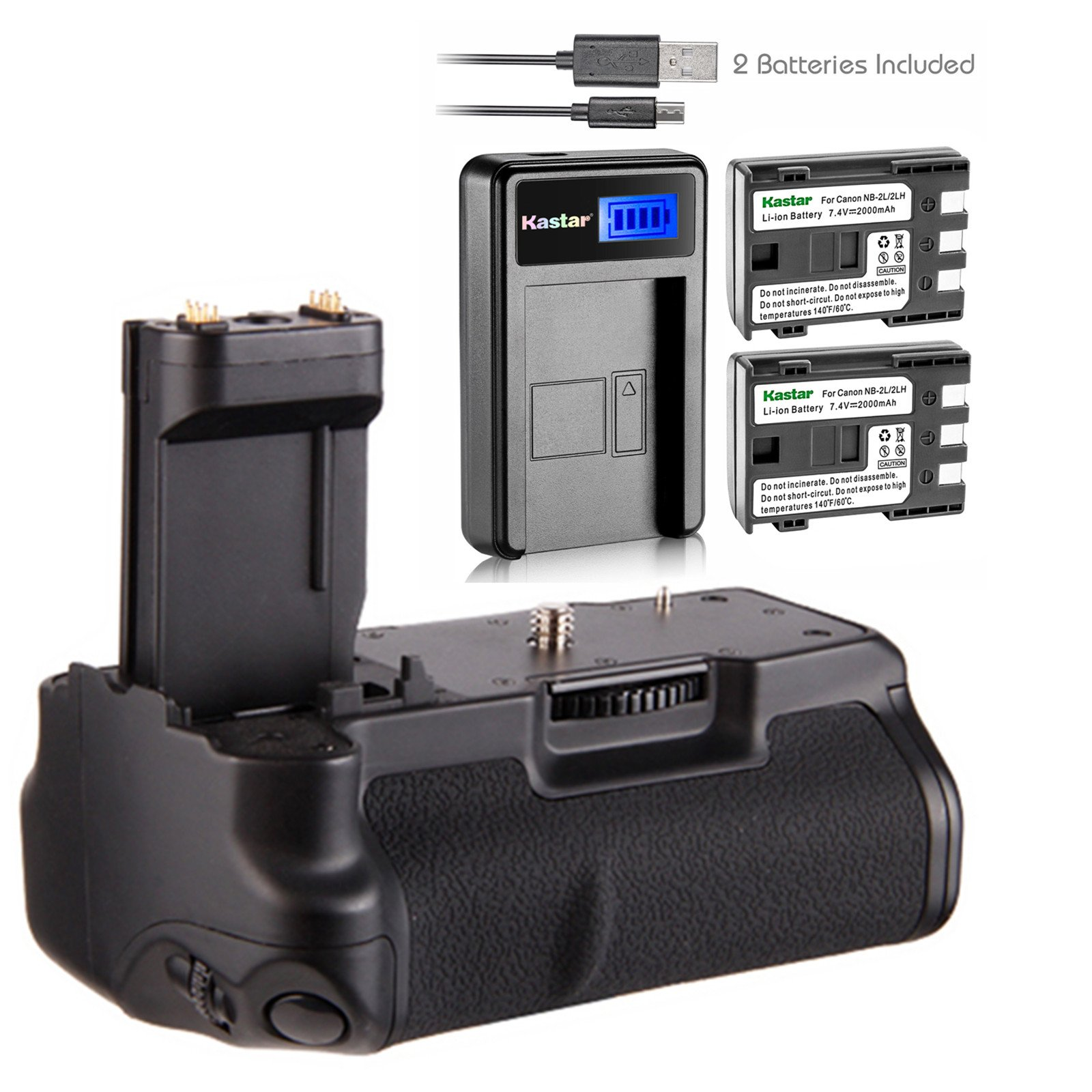 Kastar Pro Multi-Power Vertical Battery Grip BG-E3 + 2 x Replacement Batteries + LCD USB Charger for Canon EOS 350D, 400D, Rebel XT, Xti Digital Camera and Canon NB-2L, NB-2LH Battery